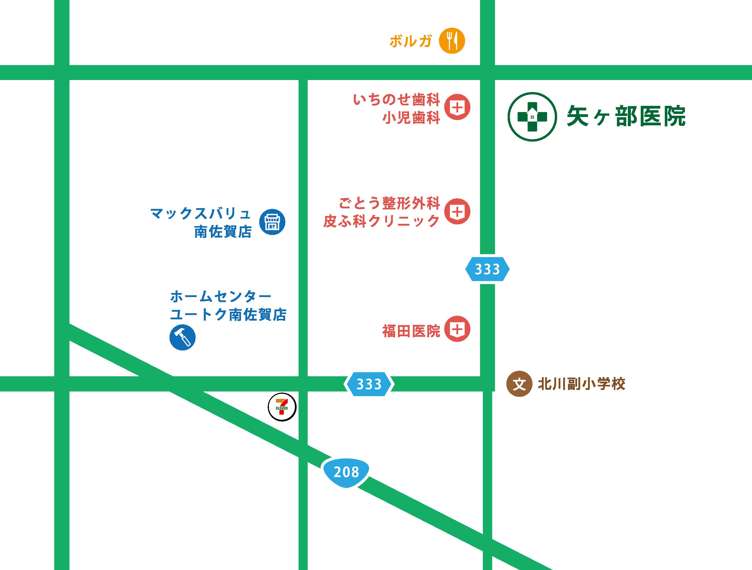 矢ヶ部医院の地図